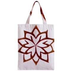 Abstract Shape Outline Floral Gold Zipper Classic Tote Bag