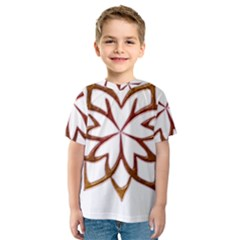 Abstract Shape Outline Floral Gold Kids  Sport Mesh Tee