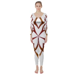Abstract Shape Outline Floral Gold Long Sleeve Catsuit