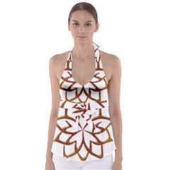 Abstract Shape Outline Floral Gold Babydoll Tankini Top