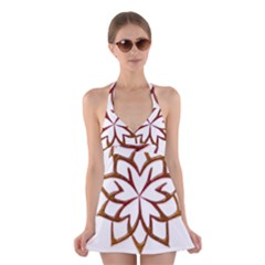 Abstract Shape Outline Floral Gold Halter Swimsuit Dress