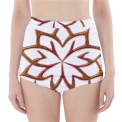Abstract Shape Outline Floral Gold High Waisted Bikini Bottoms