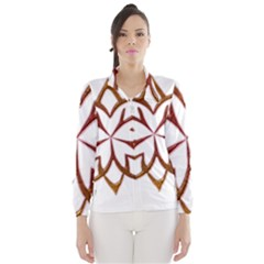 Abstract Shape Outline Floral Gold Wind Breaker (Women)