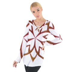 Abstract Shape Outline Floral Gold Women s Tie Up Tee