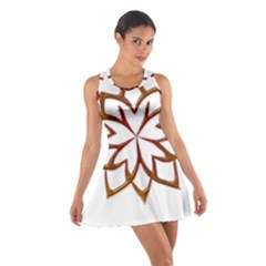 Abstract Shape Outline Floral Gold Cotton Racerback Dress