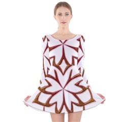 Abstract Shape Outline Floral Gold Long Sleeve Velvet Skater Dress