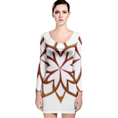 Abstract Shape Outline Floral Gold Long Sleeve Velvet Bodycon Dress