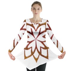 Abstract Shape Outline Floral Gold Long Sleeve Tunic