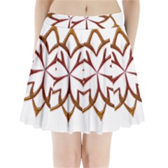 Abstract Shape Outline Floral Gold Pleated Mini Skirt
