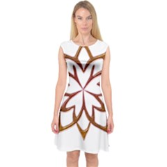 Abstract Shape Outline Floral Gold Capsleeve Midi Dress