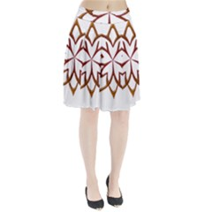 Abstract Shape Outline Floral Gold Pleated Skirt