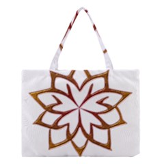 Abstract Shape Outline Floral Gold Medium Tote Bag