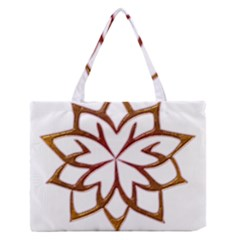 Abstract Shape Outline Floral Gold Medium Zipper Tote Bag
