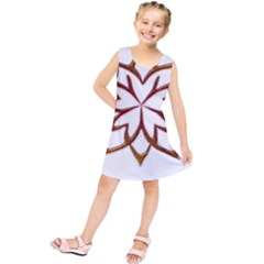 Abstract Shape Outline Floral Gold Kids  Tunic Dress
