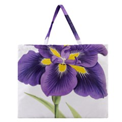 Lily Flower Plant Blossom Bloom Zipper Large Tote Bag