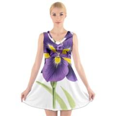 Lily Flower Plant Blossom Bloom V Neck Sleeveless Skater Dress