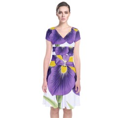 Lily Flower Plant Blossom Bloom Short Sleeve Front Wrap Dress