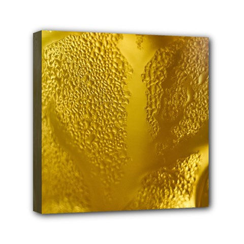 Beer Beverage Glass Yellow Cup Mini Canvas 6  X 6