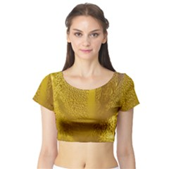 Beer Beverage Glass Yellow Cup Short Sleeve Crop Top (tight Fit)