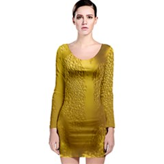 Beer Beverage Glass Yellow Cup Long Sleeve Bodycon Dress