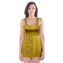 Beer Beverage Glass Yellow Cup Skater Dress Swimsuit