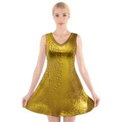 Beer Beverage Glass Yellow Cup V Neck Sleeveless Skater Dress