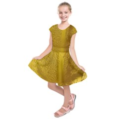 Beer Beverage Glass Yellow Cup Kids  Short Sleeve Dress