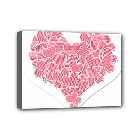 Heart Stripes Symbol Striped Mini Canvas 7  x 5