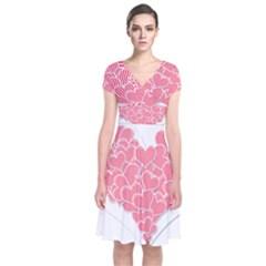 Heart Stripes Symbol Striped Short Sleeve Front Wrap Dress