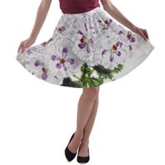 Flower Plant Blossom Bloom Vintage A Line Skater Skirt