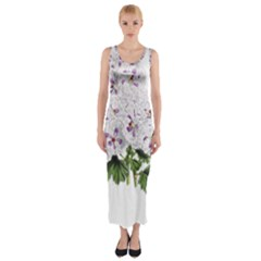 Flower Plant Blossom Bloom Vintage Fitted Maxi Dress