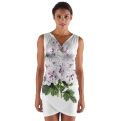 Flower Plant Blossom Bloom Vintage Wrap Front Bodycon Dress