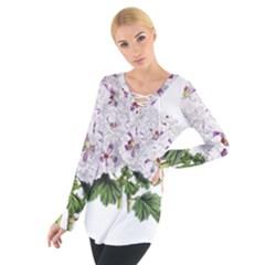 Flower Plant Blossom Bloom Vintage Women s Tie Up Tee