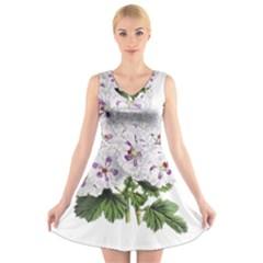 Flower Plant Blossom Bloom Vintage V Neck Sleeveless Skater Dress