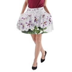 Flower Plant Blossom Bloom Vintage A Line Pocket Skirt