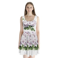 Flower Plant Blossom Bloom Vintage Split Back Mini Dress