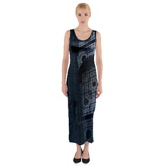 Graphic Design Background Fitted Maxi Dress