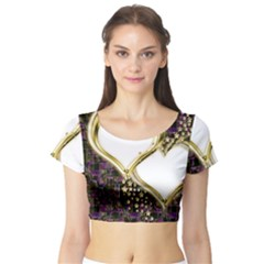 Lover Romantic Couple Apart Short Sleeve Crop Top (Tight Fit)