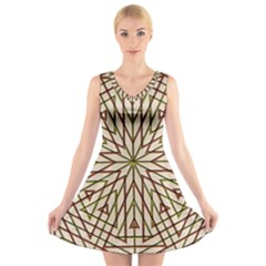 Kaleidoscope Online Triangle V Neck Sleeveless Skater Dress
