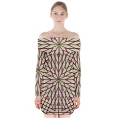Kaleidoscope Online Triangle Long Sleeve Off Shoulder Dress