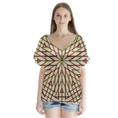 Kaleidoscope Online Triangle Flutter Sleeve Top