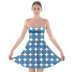 Geometric Dots Pattern Rainbow Strapless Bra Top Dress