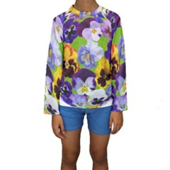 Spring Pansy Blossom Bloom Plant Kids  Long Sleeve Swimwear