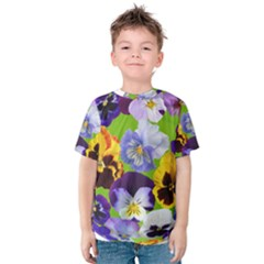 Spring Pansy Blossom Bloom Plant Kids  Cotton Tee