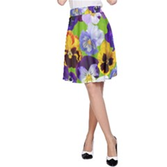 Spring Pansy Blossom Bloom Plant A-Line Skirt