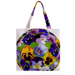 Spring Pansy Blossom Bloom Plant Zipper Grocery Tote Bag