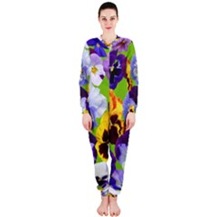 Spring Pansy Blossom Bloom Plant Onepiece Jumpsuit (ladies)