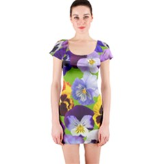 Spring Pansy Blossom Bloom Plant Short Sleeve Bodycon Dress