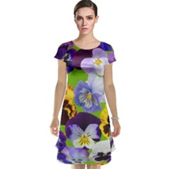 Spring Pansy Blossom Bloom Plant Cap Sleeve Nightdress