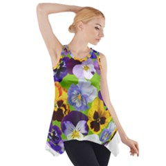 Spring Pansy Blossom Bloom Plant Side Drop Tank Tunic